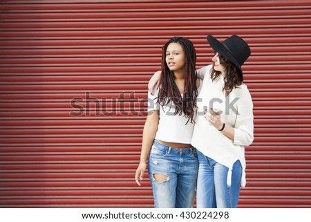 friendly urban style on red background - stock photo