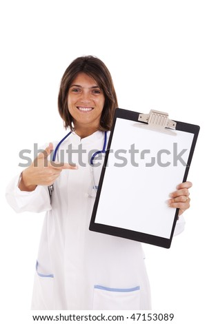 friendly woman doctor showing the copy space on the clipboard (isolated on white)
