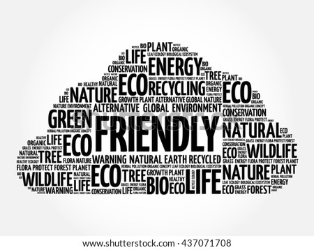 Friendly word cloud, conceptual green ecology background