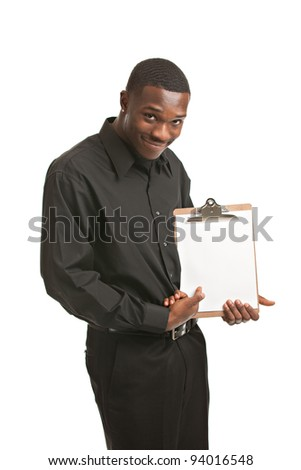 Friendly young black businessman holding clipboard on isolated white background