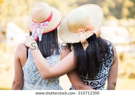 Friends at autumn day - stock photo