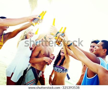 Friends Beach Party Drinks Toast Celebration Concept - stock photo