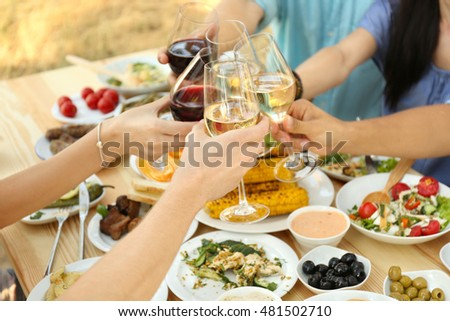 Friends cheering with glasses of wine on picnic