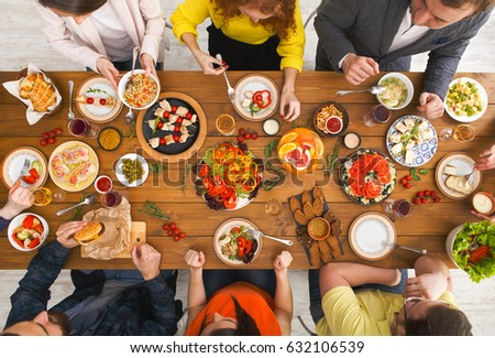 Friends Dinner Table Top View People Stock Photo 100 Legal