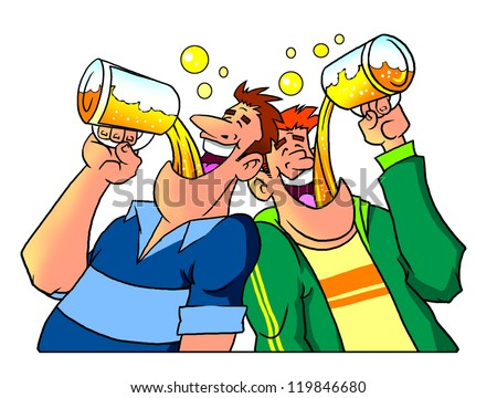 Friends drinking beer from large mugs - stock photo