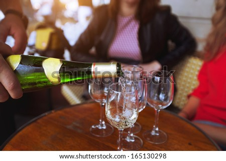 friends drinking wine in the restaurant - stock photo