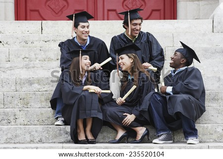 Friends Enjoying Graduation Day - stock photo