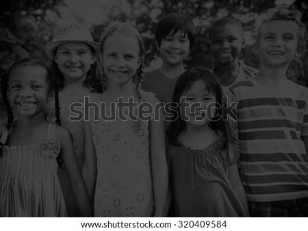 Friends Friendship Happiness Children Child Childhood  Concept - stock photo