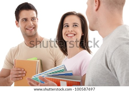 Friends from college chatting, laughing with notes and books handheld, isolated on white.