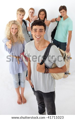 Friends going through the high school against wite background
