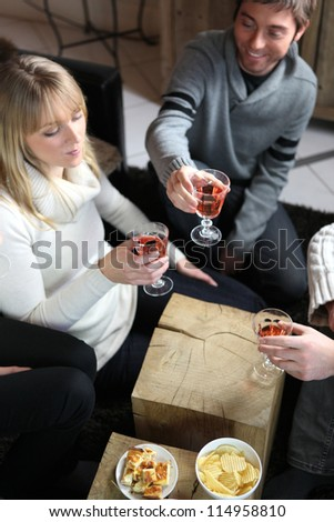 Friends having a dinner party - stock photo