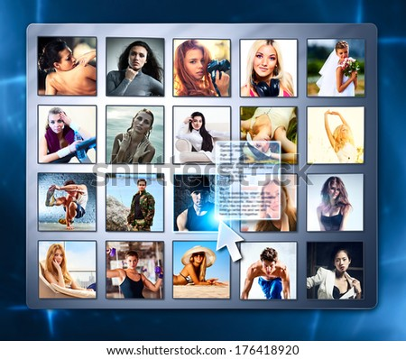 Friends in social network on screen. - stock photo