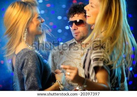 Friends in the club - stock photo
