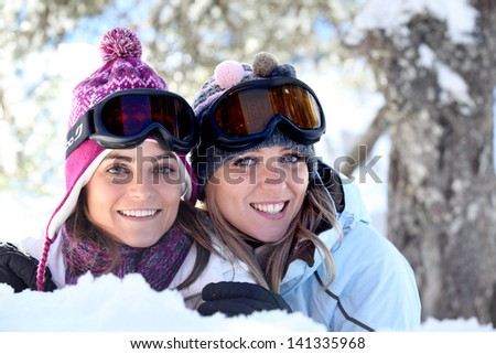 Friends in the snow - stock photo