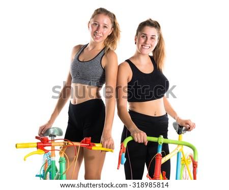 Friends on bikes - stock photo