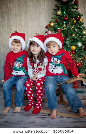 Friends on christmas - stock photo