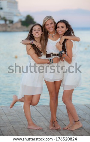 friends on holiday in Mallorca or Majorca - stock photo