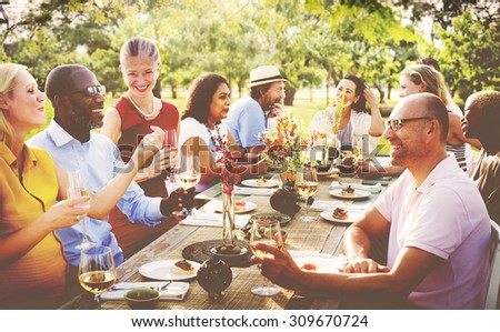 Friends Outdoors Nature Picnic Chilling Out Unity Concept - stock photo