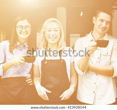 Friends Partnership Barista Coffee Shop Cafe Concept - stock photo