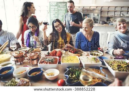 Friends Party Buffet Enjoying Food Concept - stock photo