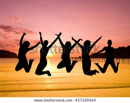 Friends Silhouettes Excited  - stock photo