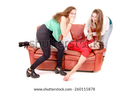 friends sitting on a couch isolated in white background