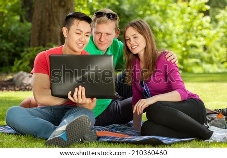 Friends sitting on blanket in park and using notebook