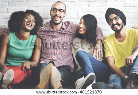 Friends Smiling Cheerful Fun Happiness Concept - stock photo