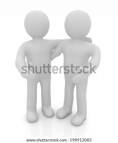 Friends standing next to an embrace. 3d image. Isolated white background.