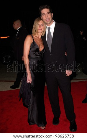 Friends stars DAVID SCHWIMMER & JENNIFER ANISTON at the 27th Annual People's Choice Awards in Pasadena, California. 07JAN01.   Paul Smith/Featureflash - stock photo