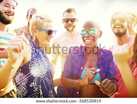 Friends Summer Beach Party Festival Concept - stock photo