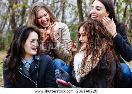 Friends talking and having fun - stock photo