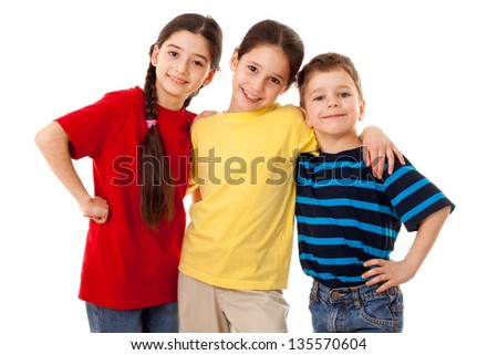 Friends - three kids together, isolated on white - stock photo