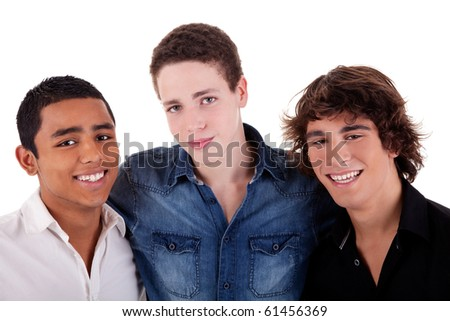friends: three young man of different colors,looking to camera and smiling, isolated on white, studio shot