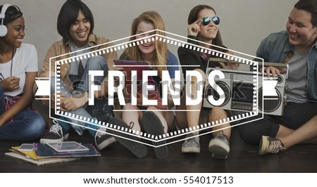 Friends Vintage Vector Graphic Concept