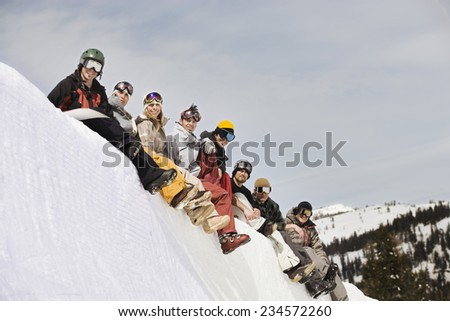 Friends Watching From the Top of the Halfpipe - stock photo