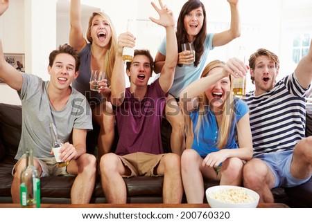 Friends Watching Sport Celebrating Goal - stock photo