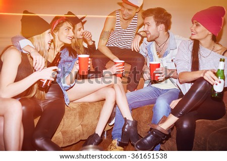 Friends with drinks - stock photo