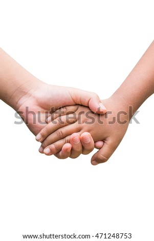 Friendship and love concept between  boy and girl - man's hand hold by a girl hand isolated on white background