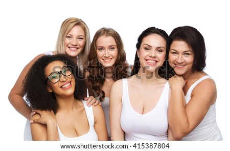 friendship, beauty, body positive and people concept - group of different happy women in white underwear - stock photo