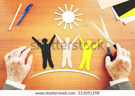 Friendship between people of different races. Abstract conceptual image - stock photo