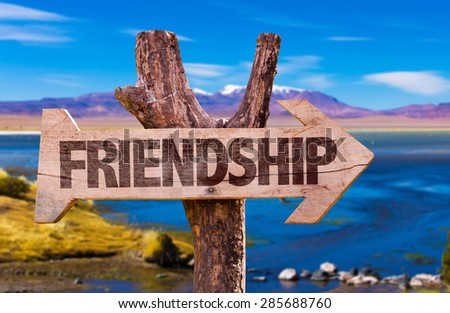 Friendship direction sign with landscape background - stock photo