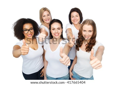friendship, diverse, body positive, gesture and people concept - group of happy different size women in white t-shirts showing thumbs up - stock photo