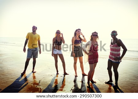 Friendship Enjoying Beach Summer Holiday Concept - stock photo