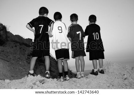 Friendship. Football team. - stock photo