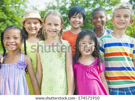 friendship group of children. - stock photo
