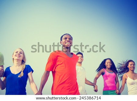 Friendship Happiness Friends Ecstatic Cheerful Relaxation Concept - stock photo