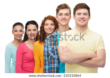 friendship, youth and people concept - group of smiling teenagers