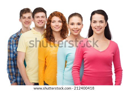 friendship, youth and people concept - group of smiling teenagers - stock photo