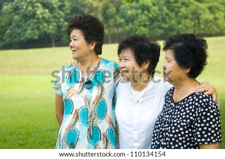 friendships of asian senior women - stock photo
